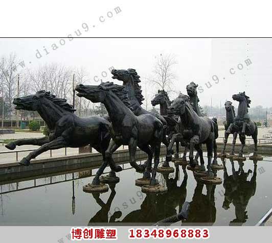 大型八骏铜雕塑