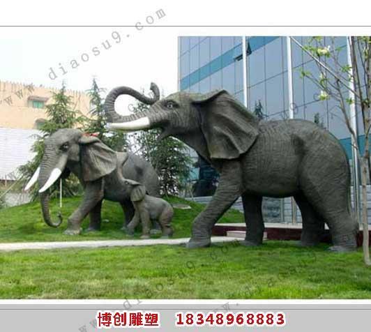 铜大象-母子象雕塑