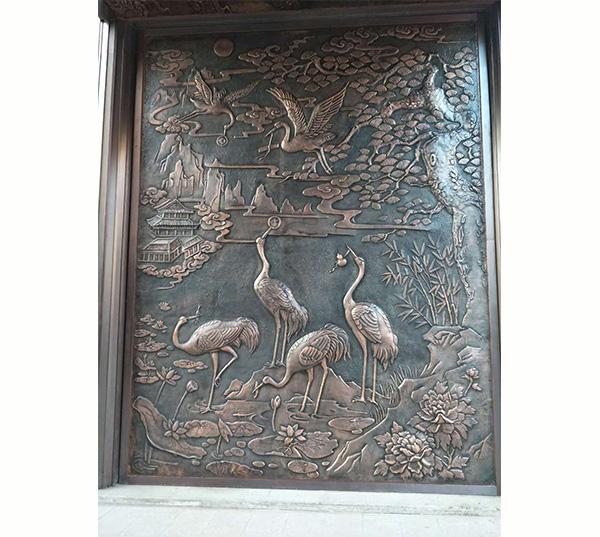 仙鹤图-铜浮雕壁画