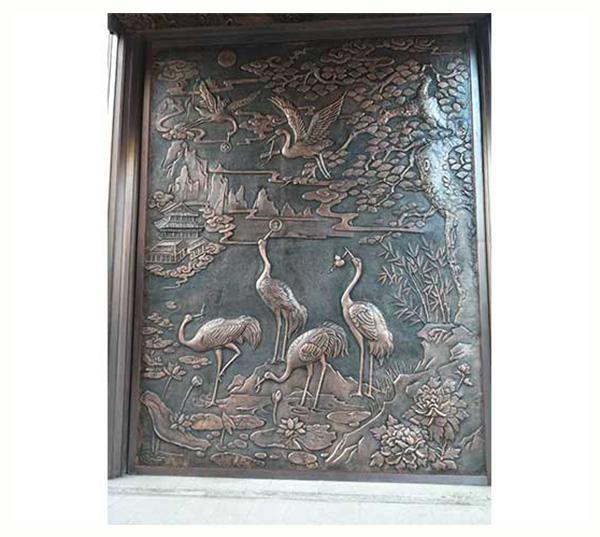 铜浮雕仙鹤