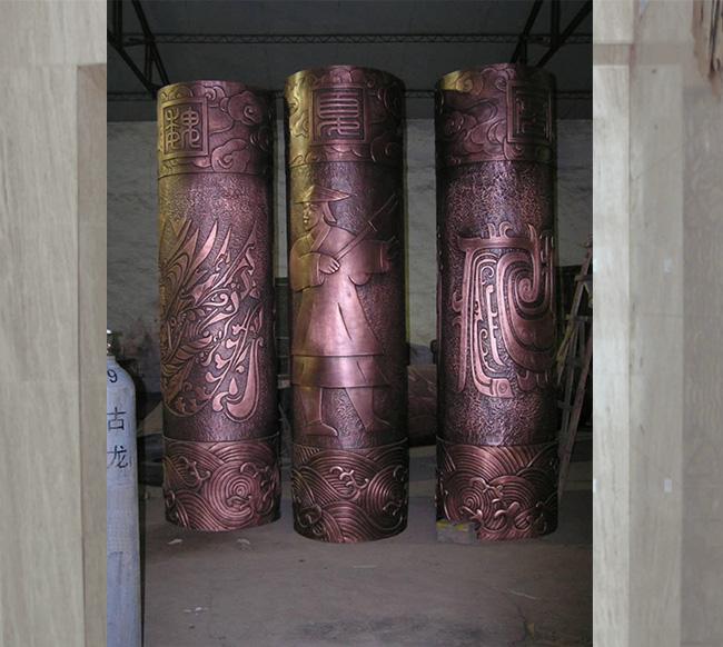 仿古浮雕画柱子