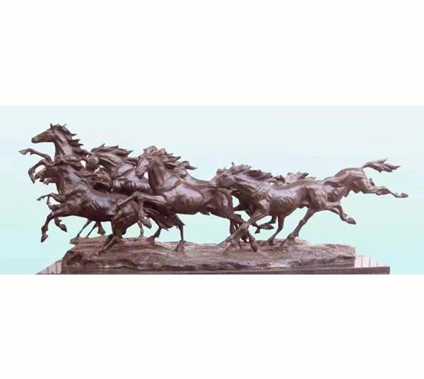 八骏马铜雕