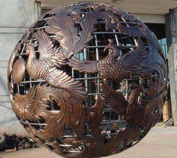 凤凰球形锻铜雕塑