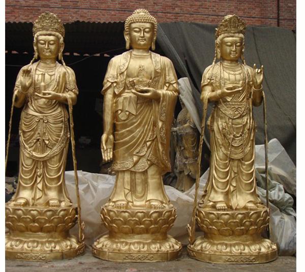 西方三圣铜佛像雕塑