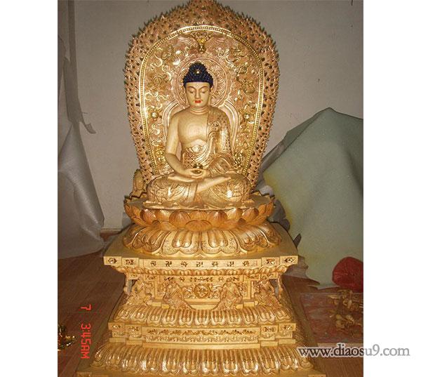 带座铜佛像