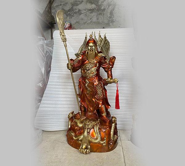 九龙铜关公神像